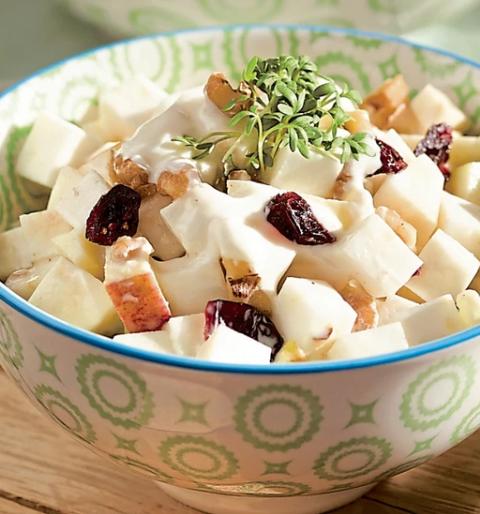 Selleriesalat mit Joghurtdressing und Cranberrys