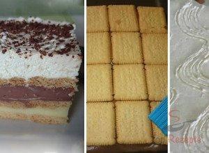 Leckerer Pudding-Sahne-Keks-Kuchen ohne Backen